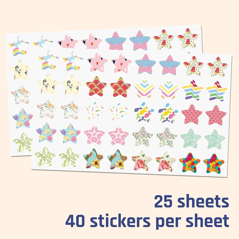 1000 pezzi Adesivi di Ricompensa 2,5cm Adesivi Cuore 20 disegni