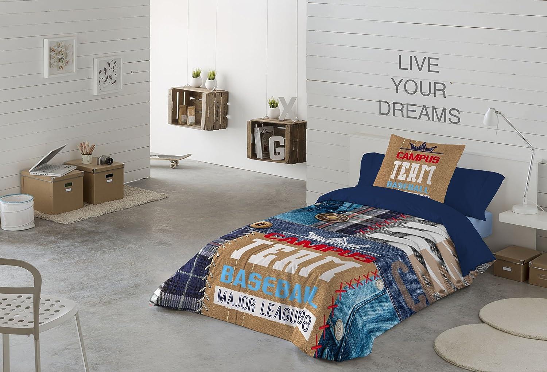 NATURALS Campus Funda nórdica, algodón, Azul/Multicolor, Cama 90 (150 x 220 cm + 45 x 110 cm): Amazon.es: Hogar