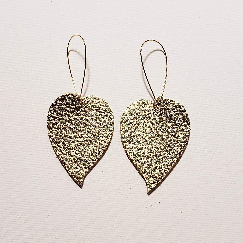 Gold Leather Drop Leaf Earrings//Meghan Markle//Statement Earrings//Bold Style//Leather Earrings