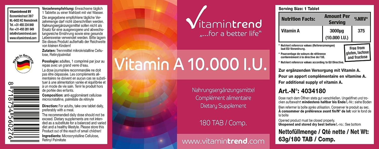 Vitamina A 10.000 U.I - vegana - alta dosificación - sin estearato de magnesio - 180 tabletas - tratamiento para 6 meses: Amazon.es: Salud y cuidado ...