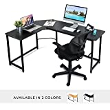 L Shaped Office Computer Desk –Black Laminated Wooden Particleboard Table and Black Powder Coated Steel Frame - Easy Assembly - CPU Stand, Tools and Instructions Included – by Luxxetta