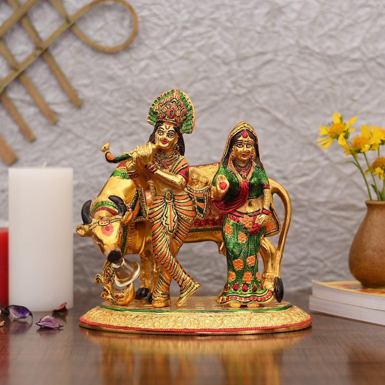 NOBILITY Metal Radha Krishna Idol Kamdhenu Murti Showpiece for Home Puja Decor & Decorative Gifts