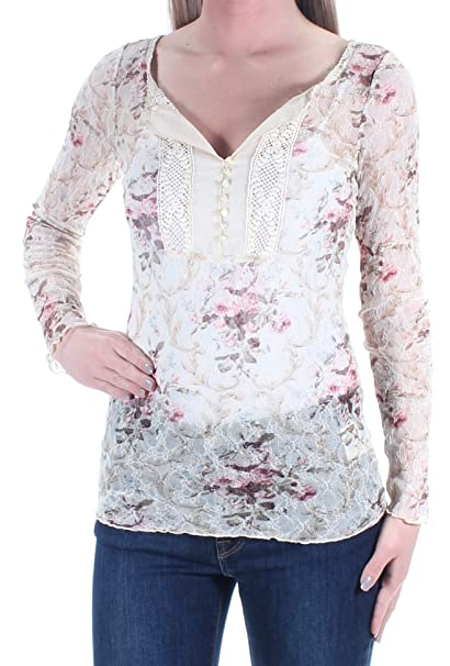 09cbcf7b02d Image Unavailable. Image not available for. Color  RALPH LAUREN Denim   Supply  Womens Floral Lace Henley Top Ivory XS