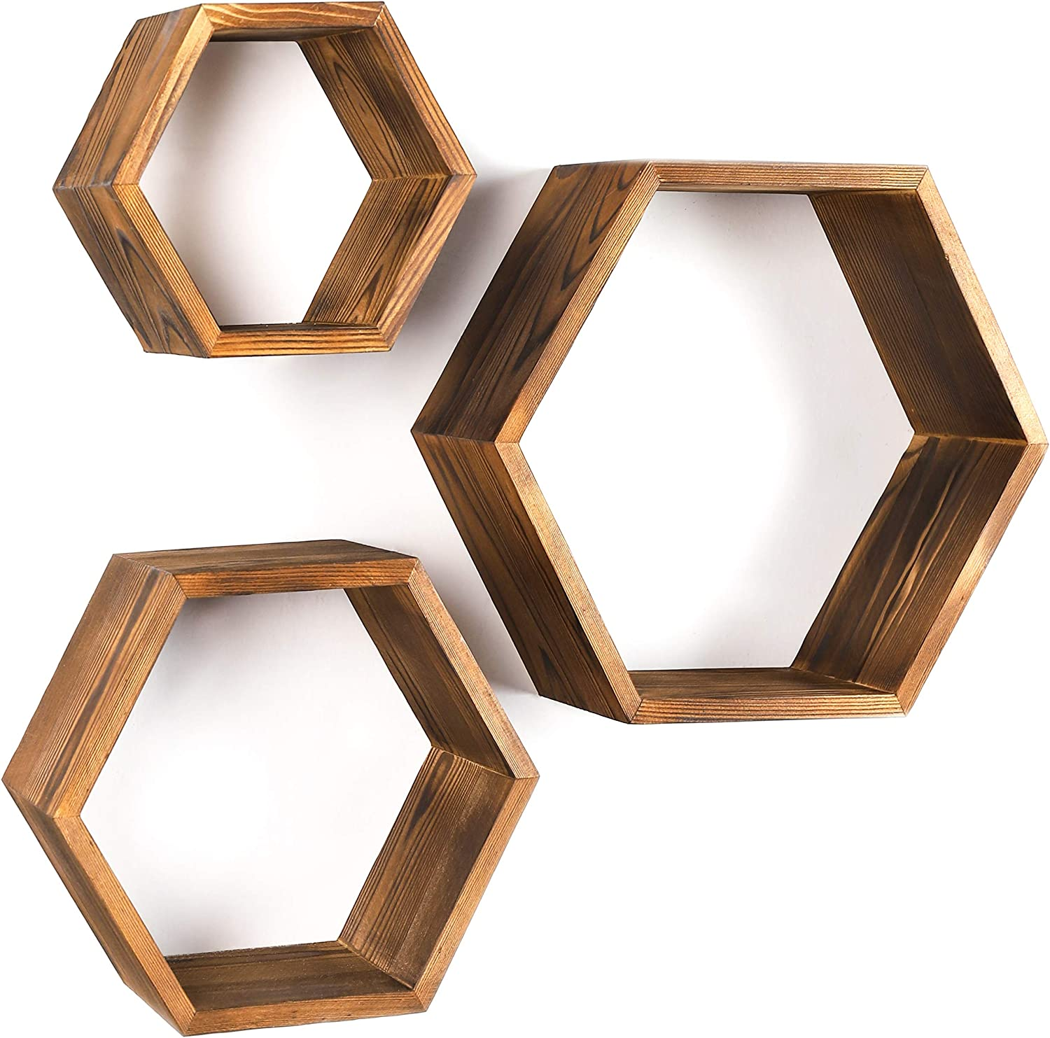Hexagon Wall Decor Floating Shelves - 3-Pack Decorative Wall Shelf Set - Screws And Anchors Included - Pine Wood Geometric Shelves - Modern Honeycomb Shelving Set for Home Living Room, Kitchen, Office