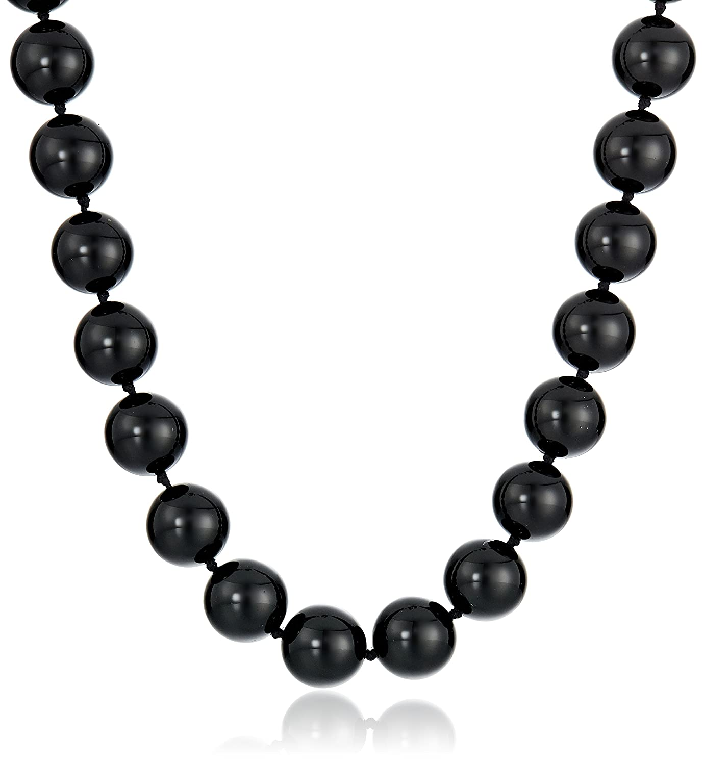 Sterling Silver 12mm Black Onyx Bead Necklace, 17+ 2 extender 17+ 2 extender Amazon Collection BO-12P/16SS