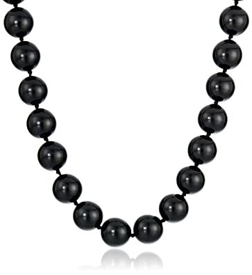 Amazon sterling silver 12mm black onyx bead necklace 162 sterling silver 12mm black onyx bead necklace 16quot2quot extender aloadofball Choice Image