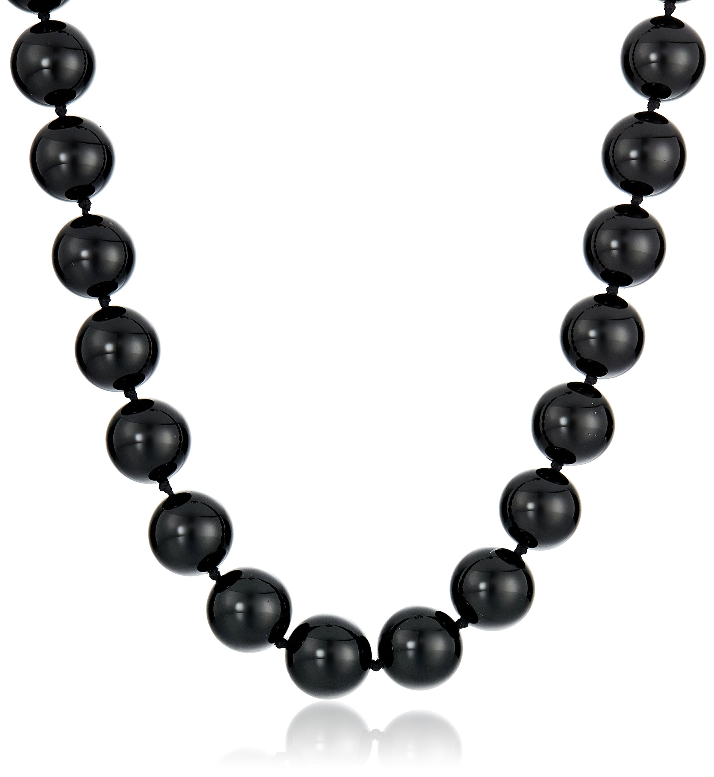Sterling Silver 12mm Black Onyx Bead Necklace, 16''+2'' Extender
