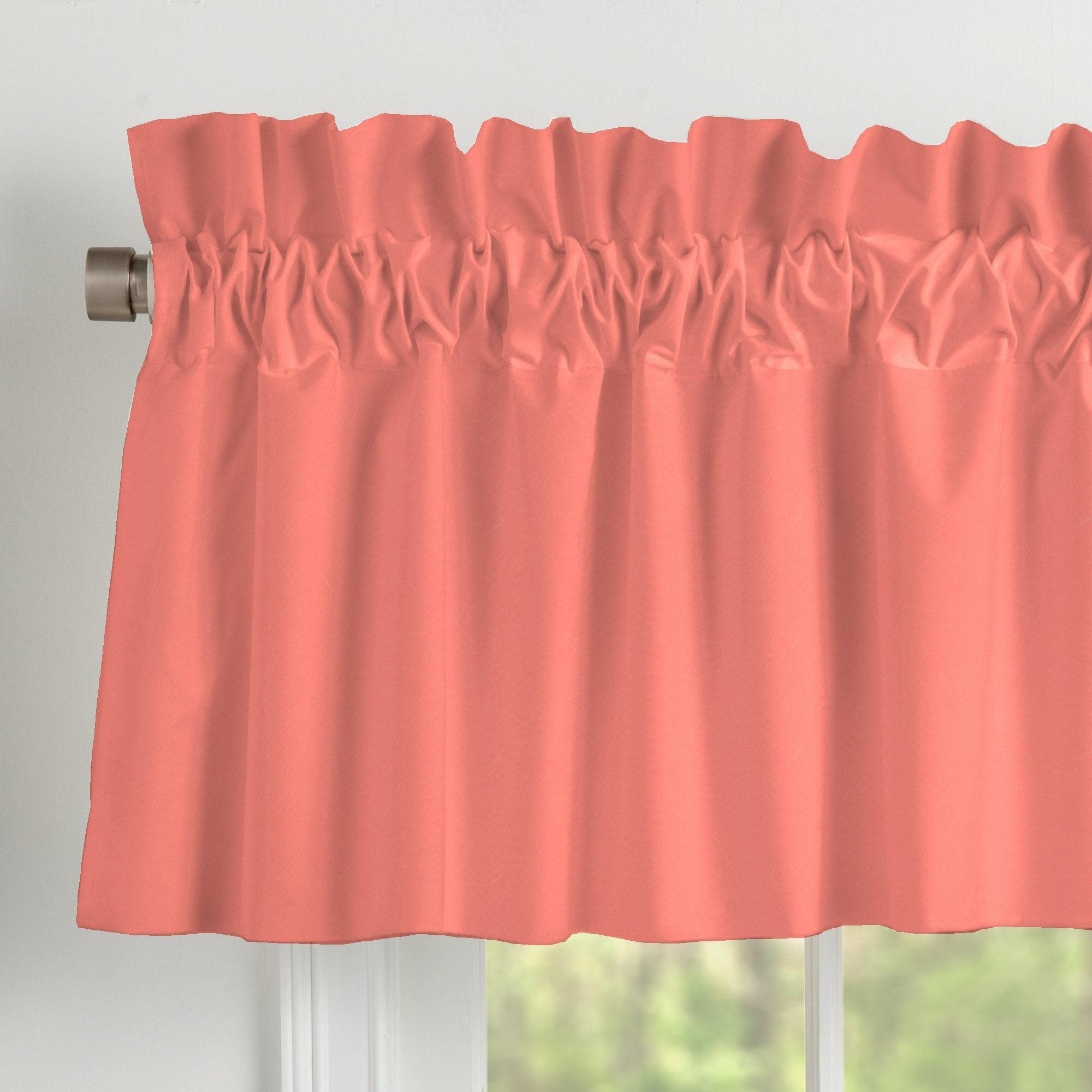 Carousel Designs Solid Coral Window Valance Rod Pocket