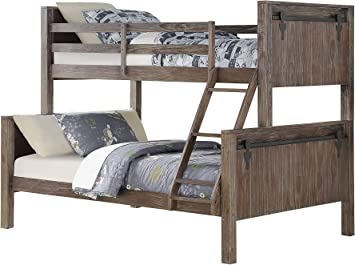 Amazon Com Donco Twin Over Full Barn Panel Bunk Bed Bunkbed Brushed Shadow Furniture Decor