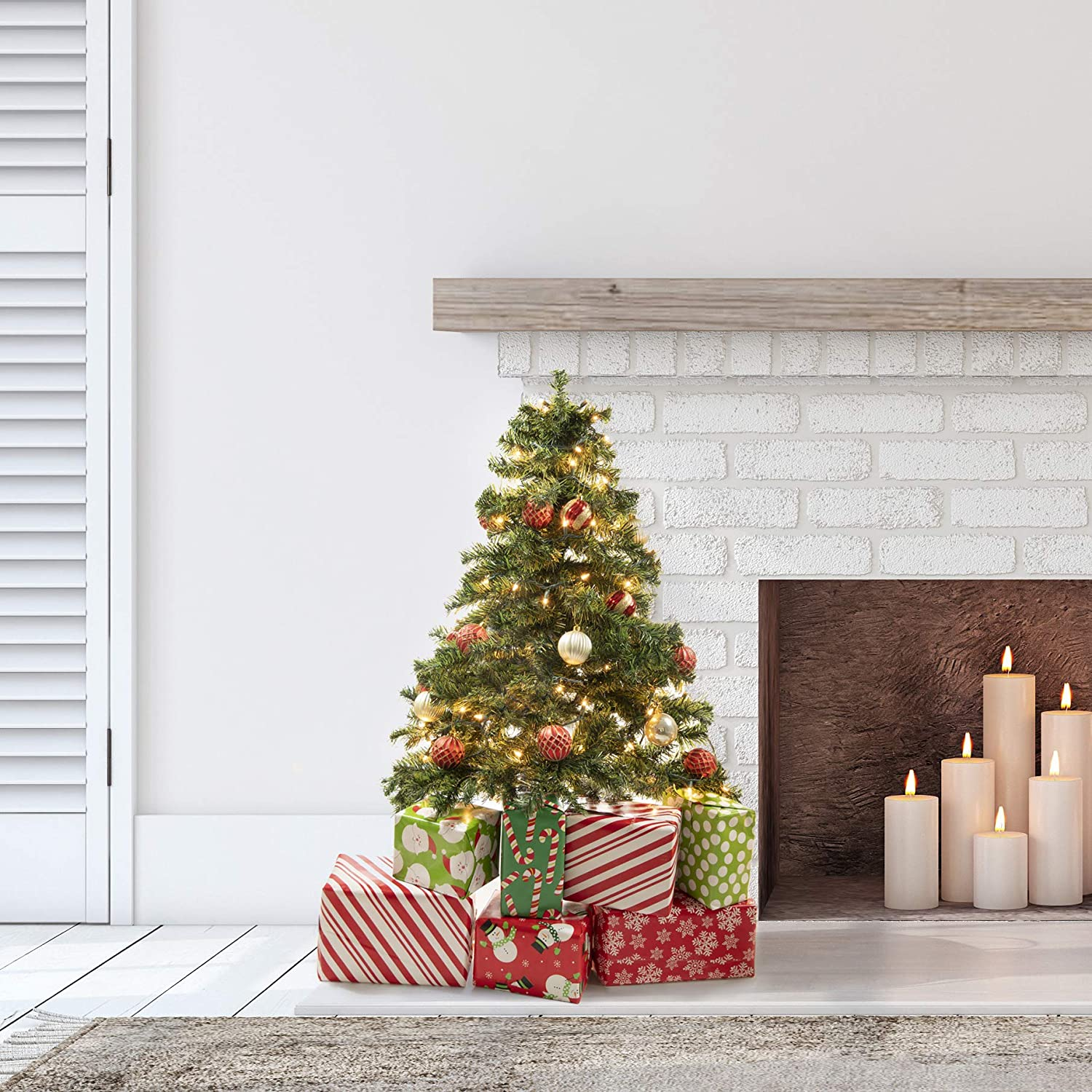 Prextex 4 Feet Premium Hinged Artificial Canadian Fir Christmas Tree Lightweight//Easy to Assemble with Christmas Tree Stand