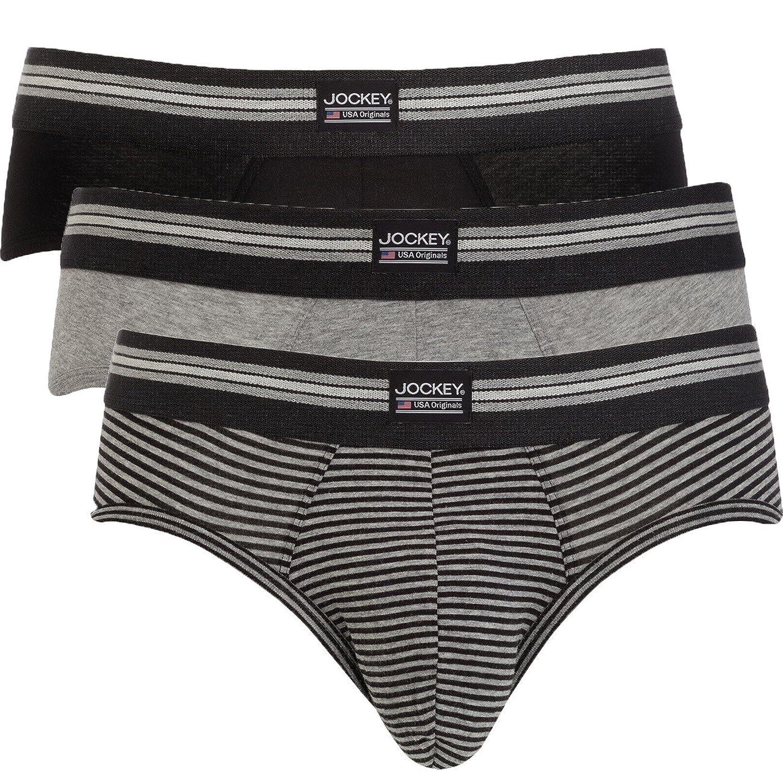 Jockey Slip Six Pack - Sportlicher Slip in angenehm weicher Single Jersey Baumwoll-Quaität - black stripe und navy S bis 2 XL