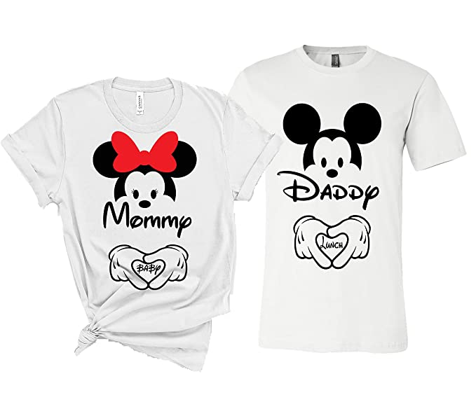 89284fe4 Disney Couple Maternity Shirts New Baby Announcement T-Shirts Dad and Mom  Maternity Funny T