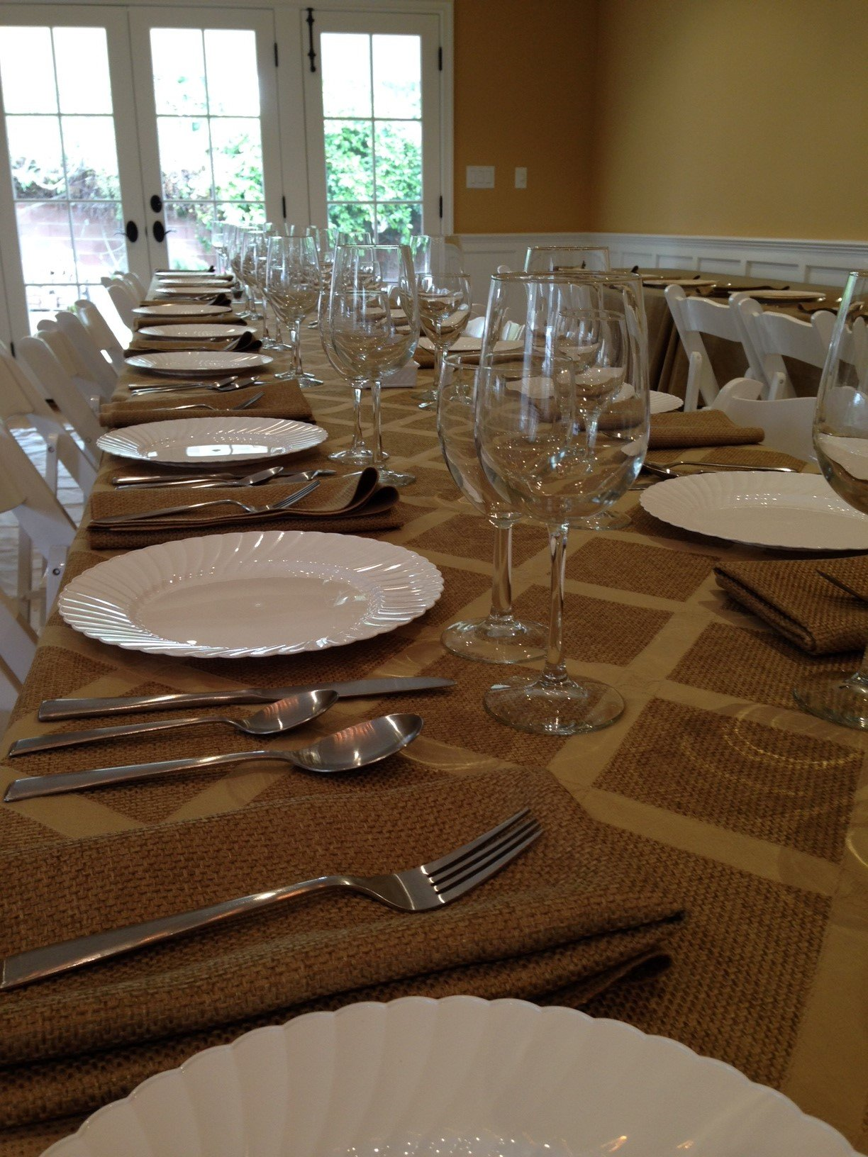 Polyester Sedona Burlap Table Cloth (Wheat, 70x144 Rectangle) by LinenLovers (Image #1)