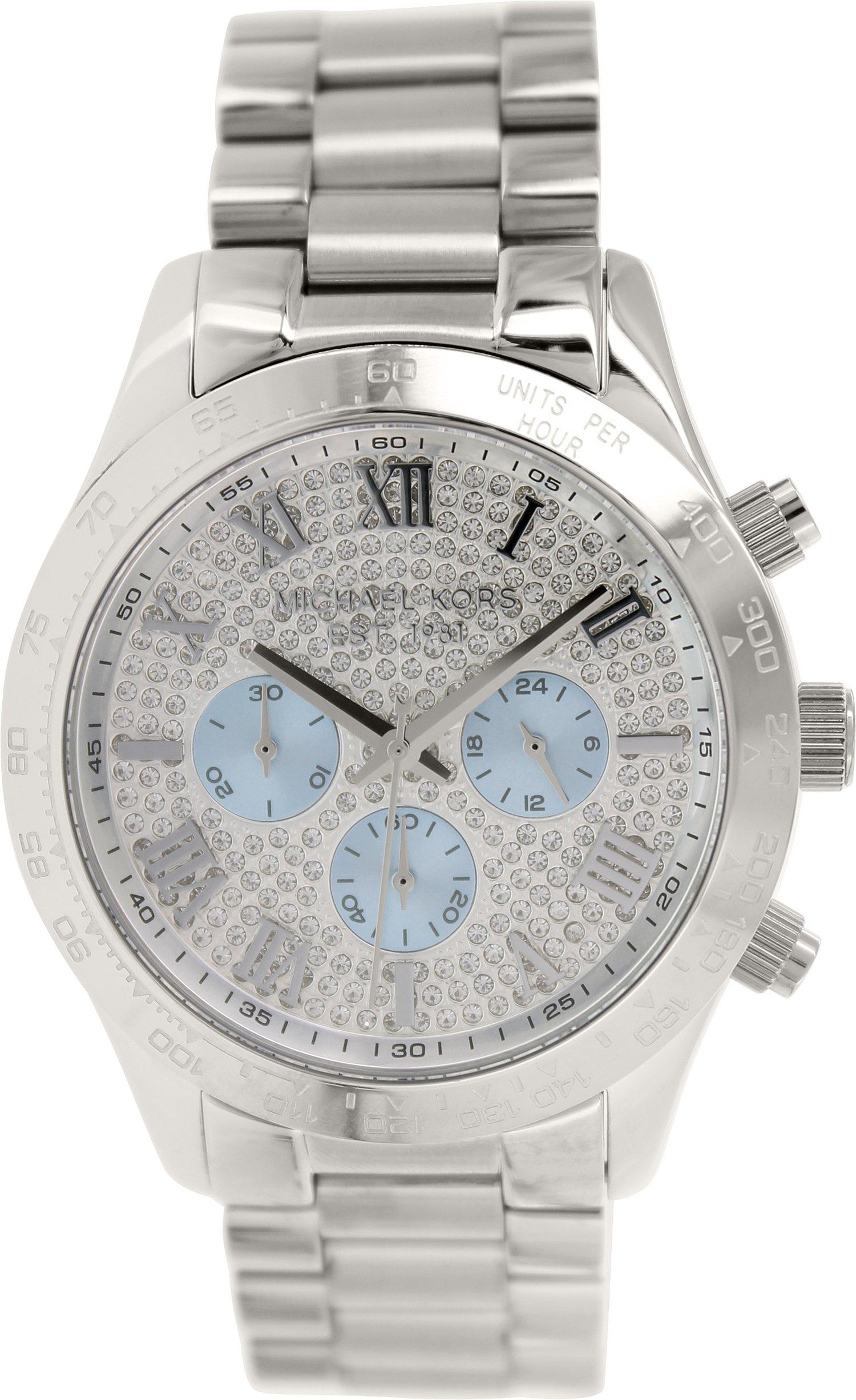 Michael Kors MK6076 Women's Layton Silver Tone Chronograph Watch