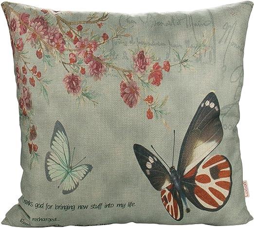Luxbon Funda Cojines 45x45 Mariposas Flores Rojo Algodón Lino Fundas de Almohada para Sofa Coche Cama Hogar Decoracion: Amazon.es: Hogar