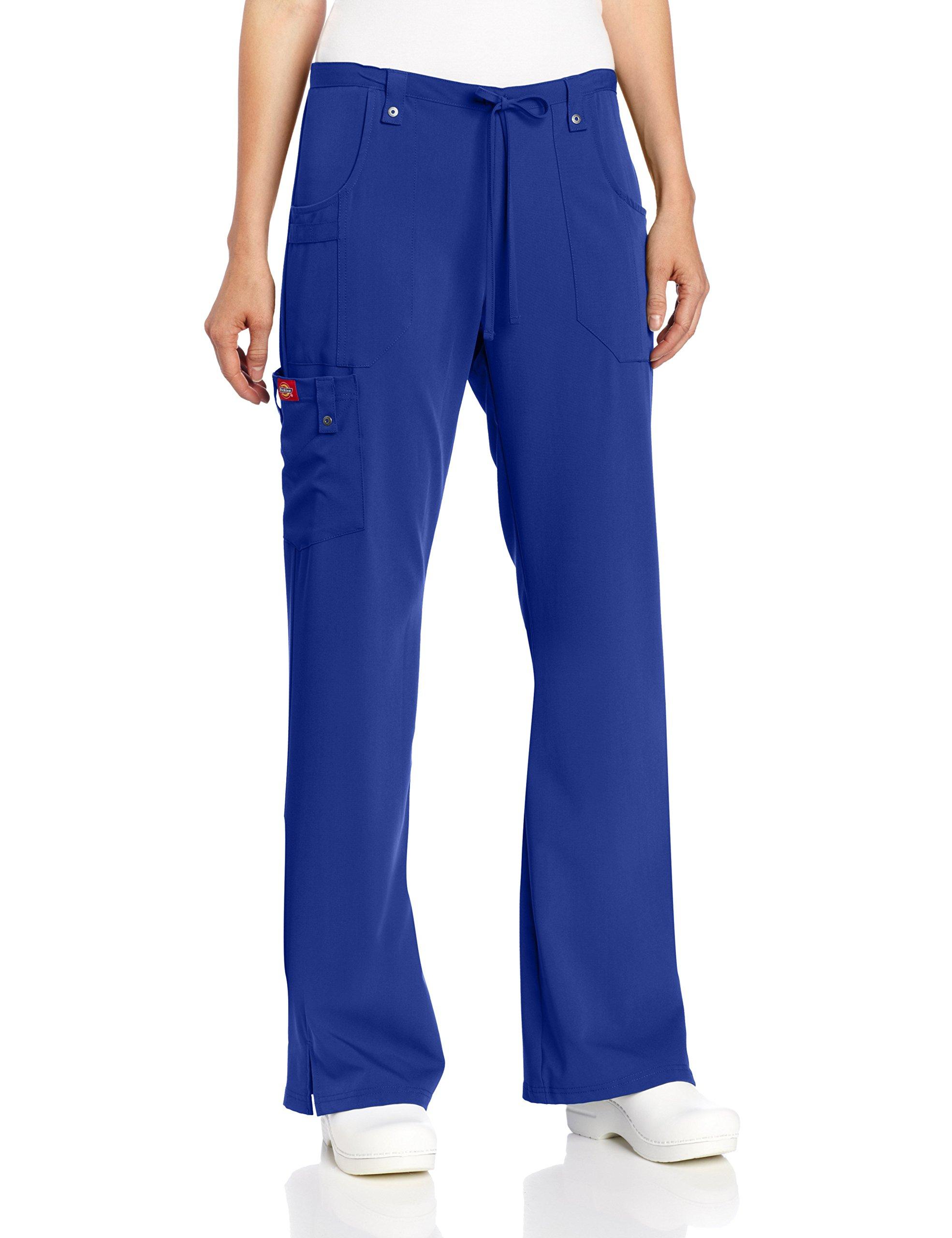 Dickies Women's Xtreme Stretch Fit Drawstring Flare Leg Pant, Galaxy Blue, X-Small/Tall