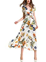 ANGELADY Bohemian Women Button Up Split Floral Print Short Sleeve Beach Maxi Dress