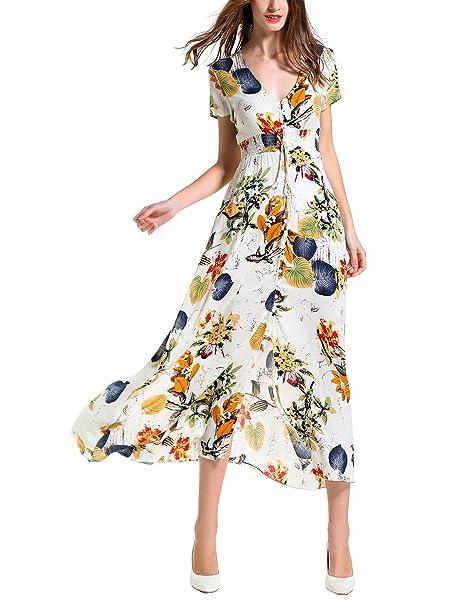 af37ac185e9b Amazon.com: Angelady Bohemian Women Button Up Split Floral Print Short  Sleeve Beach Maxi Dress: Clothing