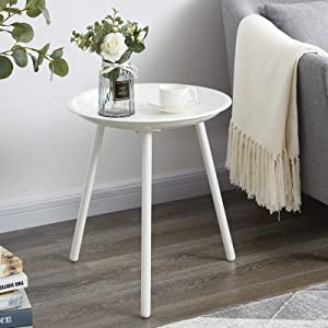 EKNITEY Round End Table, Metal Side Table, Small Coffee Table, Nightstand for Living Room, Bedroom, Office, Easy Assembly (White)