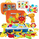 WISESTAR 380PCS Electric Drill Puzzle Toy Set for Kids, Creative Mosaic Drill Trendy Bits Set with Building Blocks for Toddle