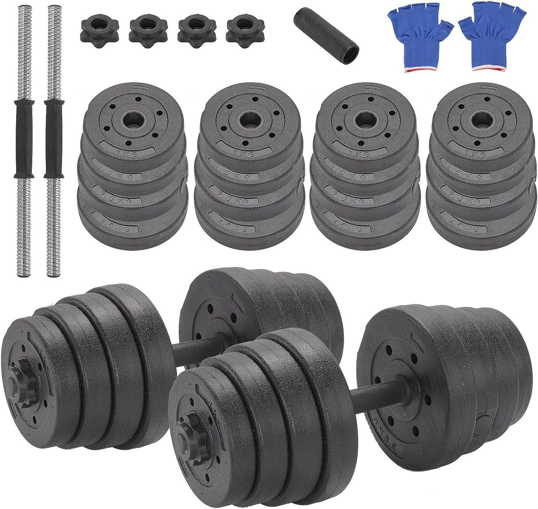 Mutiwill Juego de mancuernas, con barra y conjunto de pesas de 30 kg, peso ajustable, color negro, unisex