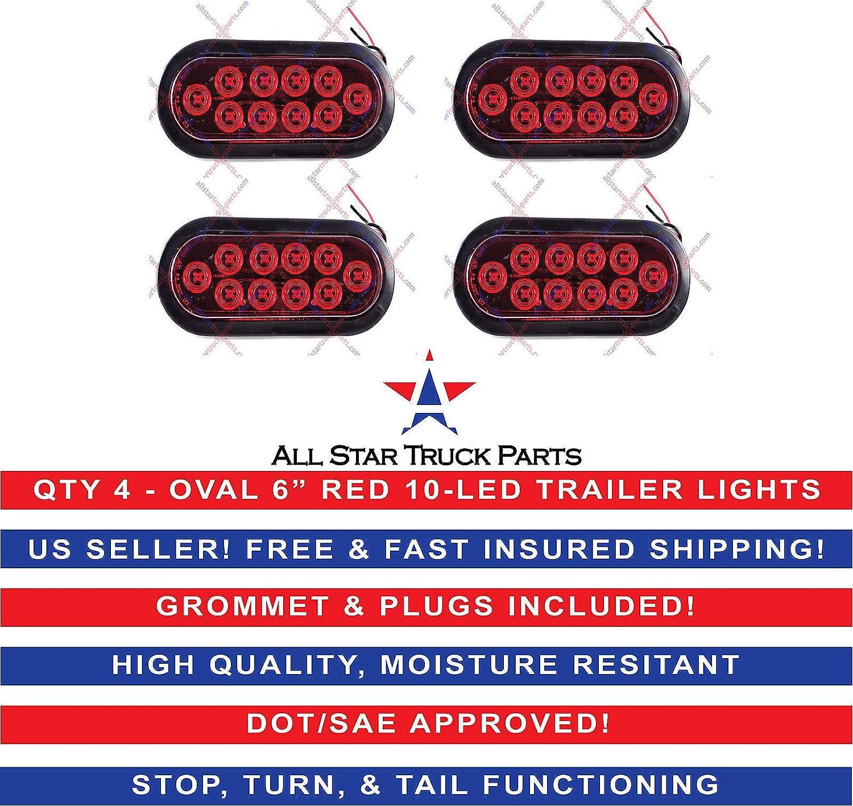 6 Inch Oval 10 LED Stop Turn Reverse Backup Tail Truck Light Kit 2 White+2 Red