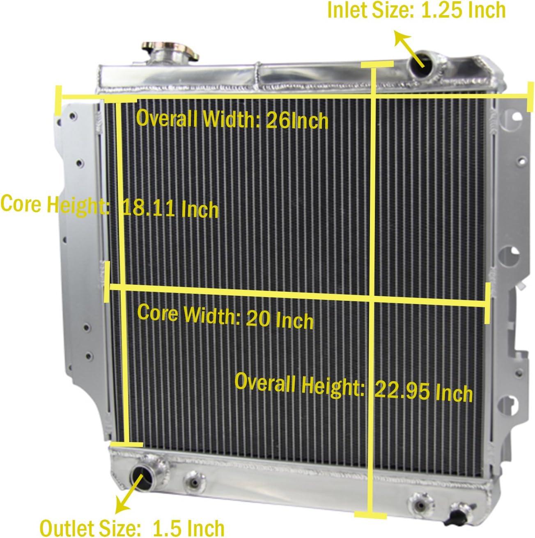 ALLOYWORKS 4 Row Core Full Aluminum Radiator for Jeep Wrangler YJ TJ 2.4L /& 2.5L /& 4.0L /& 4.2L 1987-2006