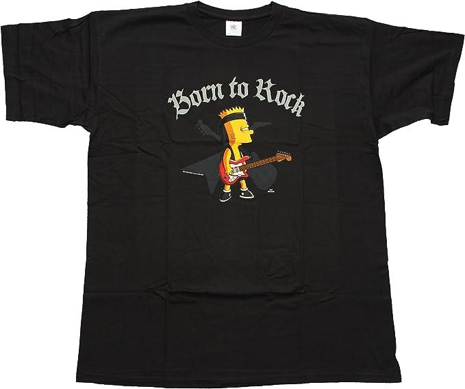 Los Simpson - camiseta Born to rock de Bart Simpson - Bartman - serie de televisión de dibujos animados - algodón - negra - XXL: Amazon.es: Ropa y accesorios