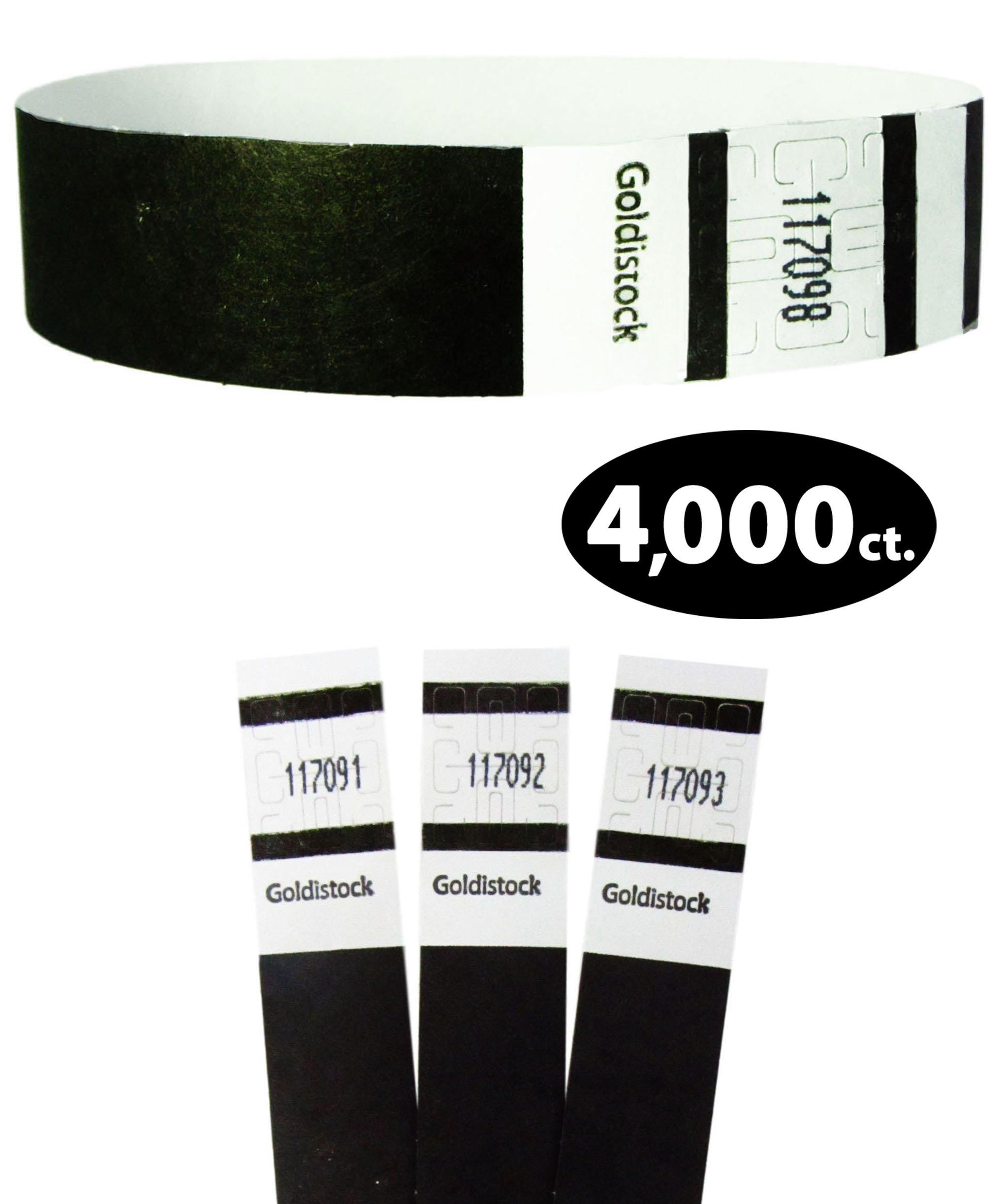 Goldistock Original Series - 3/4'' Tyvek Wristbands Tuxedo Black 4,000 Count Value Pack - Event Identification Bands (Paper - Like Texture)