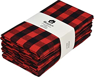 Gratico Dinner Napkins, Everyday Use, Premium Quality,100% Cotton, Set of 12, Size 20X20 Inch, Red/Black Oversized Cloth Napkins with Mitered Corners, Ultra Soft, Durable Hotel Quality