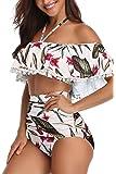 Heat Move Women High Waisted Tassel Flounce Off Shoulder Swimsuit