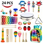 AILUKI Toddler Musical Instruments,24PCS 17 Kinds of Wooden Percussion Instruments Tambourine Xylophone for Kids Preschool Education,Early Learning Musical Toy for Boys and Girls with Storage Backpack