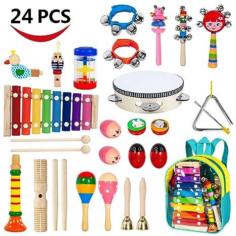 amazon com ailuki toddler musical instruments 24pcs 17 kinds of