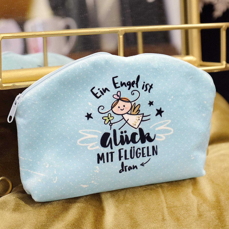 M/äppchen mit Engel-Motiv Hellblau Die Geschenkewelt Happy Life 46149 Kosmetikt/äschchen Schutzengel
