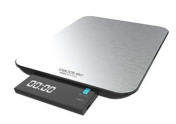 Cecotec Digital Cook Control 9000 Waterproof Báscula de Cocina, Acero Inoxidable, Resistente al Agua, Pantalla LCD Retroiluminada Extraíble, ...