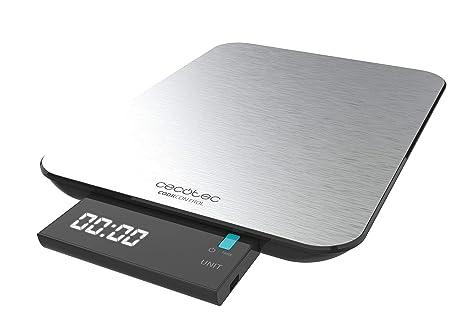 Cecotec Báscula de Cocina Digital Cook Control 9000 Waterproof. Acero Inoxidable, Resistente al Agua, Pantalla LCD Retroiluminada Extraíble, Capacidad ...