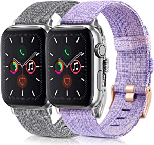 [2 Pack] Woven Bands Compatible for Apple Watch Band 38mm 40mm 42mm 44mm, Soft Woven Fabric Replacement Band Compatible for iWatch Series 6 5 4 3 2 1 (Lavender,Gray, 38mm/40mm)