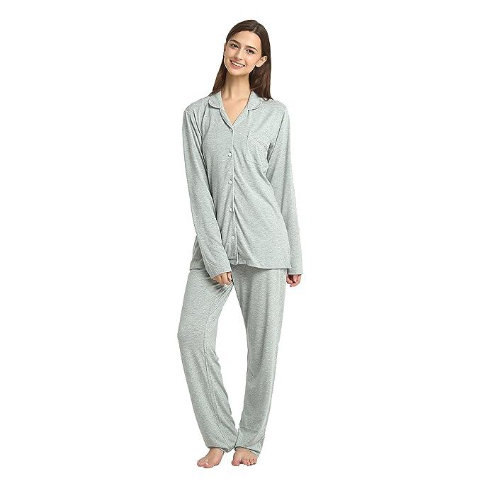 c7fb8b6e2e Jasmine Silk Women Classic Jersey Modal Pyjama Set - Silver Grey  Amazon.co.uk   Clothing