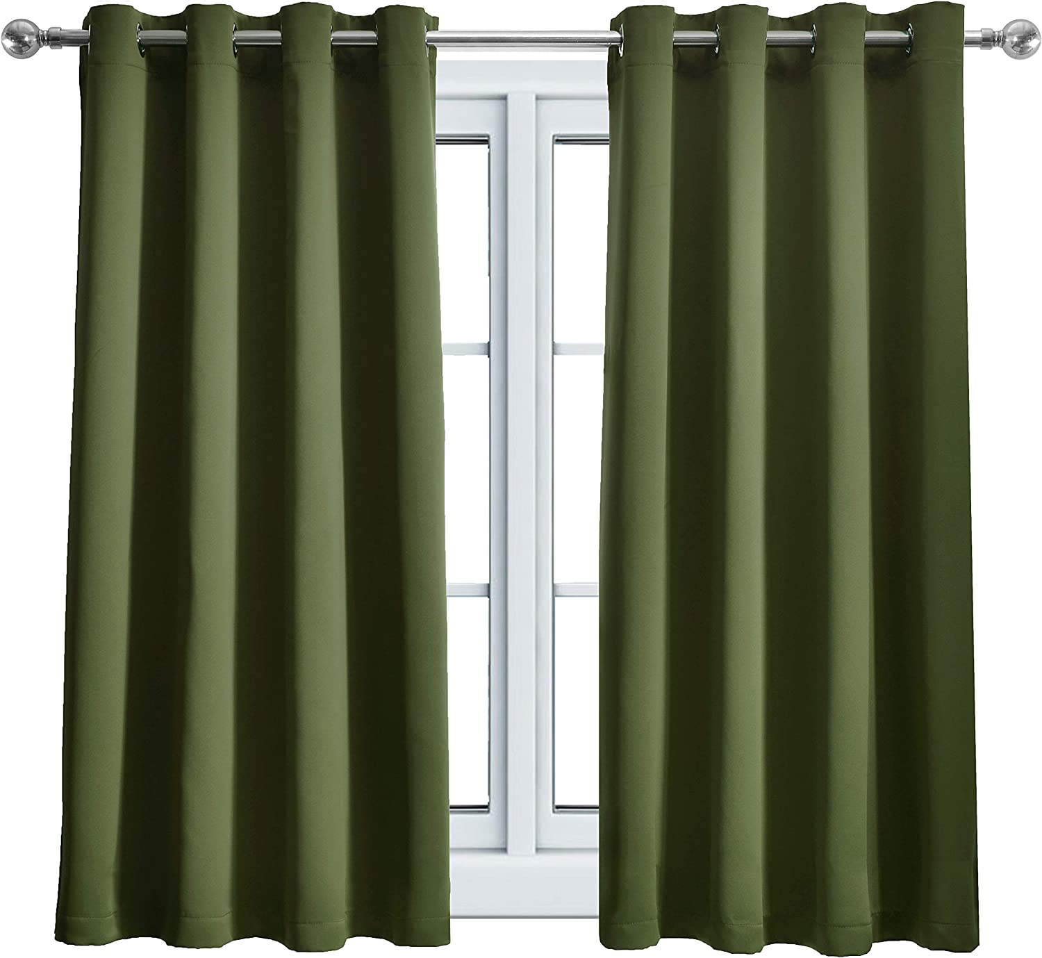 WONTEX Blackout Curtains Thermal Insulated with Grommet for Bedroom, 52 x 63 inch, Olive, 2 Curtain Panels