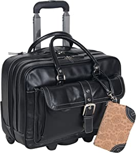 "Heritage Travelware 'Lake View' Women's Pebbled SOHO Leather Multi-Compartment 15.6"" Laptop & Tablet Wheeled Business Portfolio Tote / Overnighter Carry-On, Black"