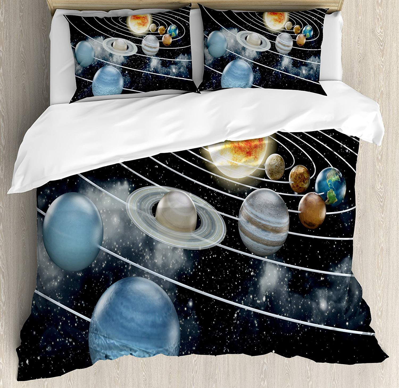 Anzona Full Size Galaxy 3 PCS Duvet Cover Set, Solar System All Eight Planets the Sun Pluto Jupiter Mars Venus Science Fiction, Bedding Set Bedspread Children/Teens/Adults/Kids, Black Grey