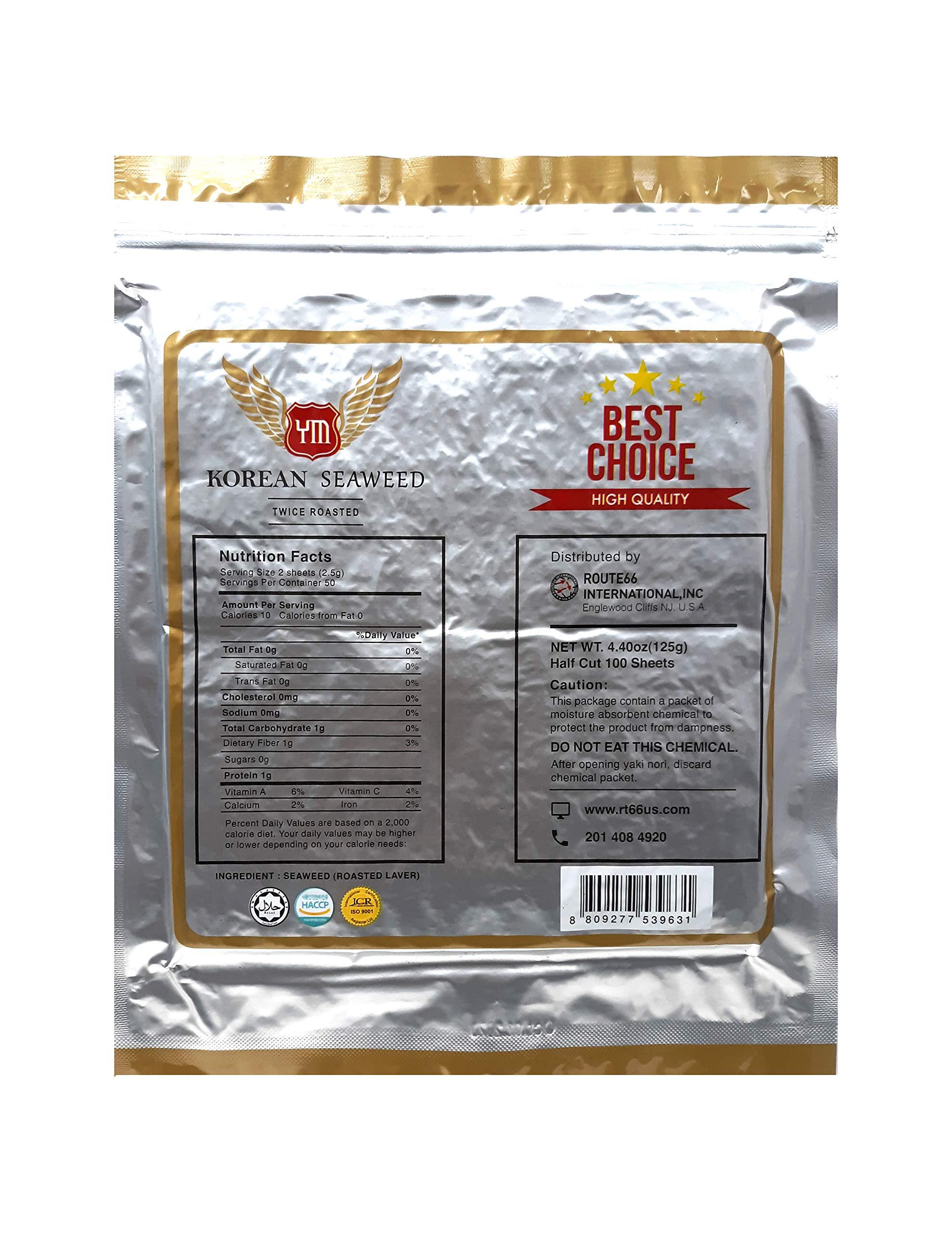 YM Korean Roasted Seaweed Premium Sushi Nori   Premium Gold Grade   Twice Roasted   100% Natural Korean Seaweed   100 Half Sheets (1 Pack) by YM (Image #2)