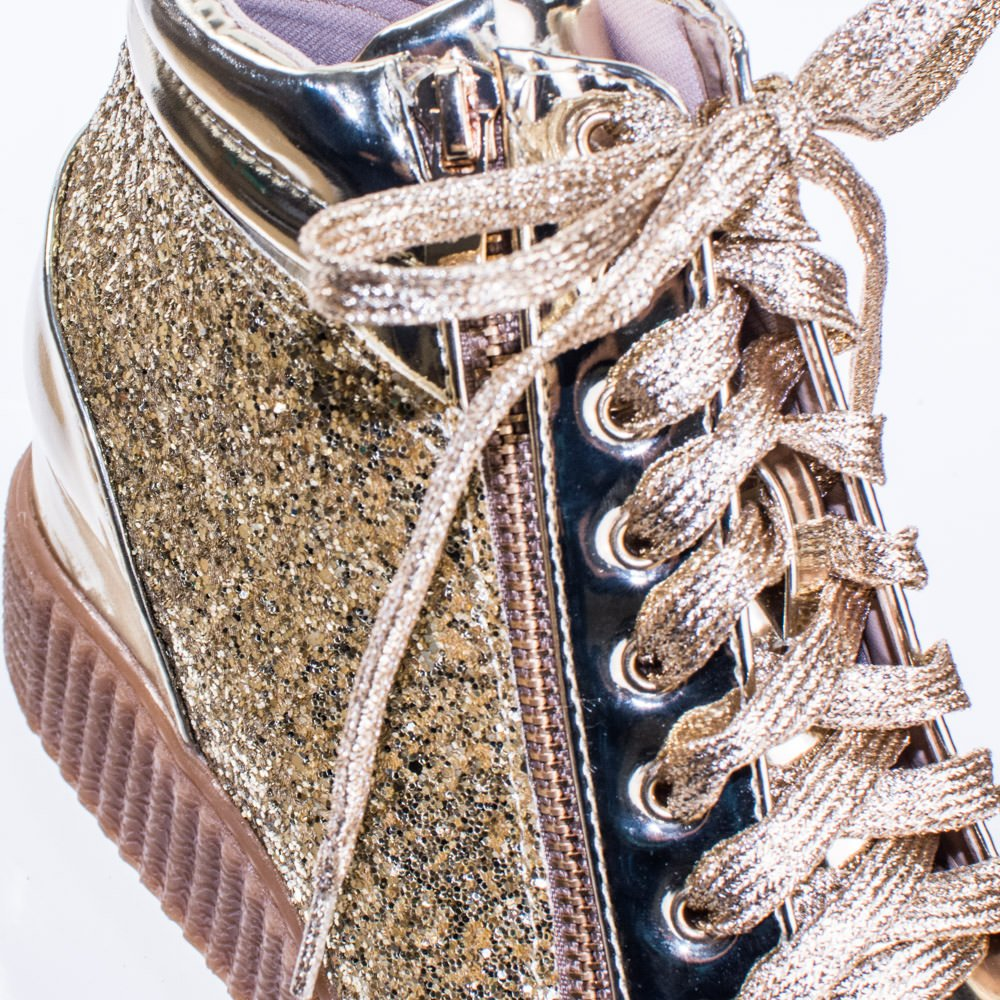 Forever Link Retro Glitter Oxford Lace Up Platform Wedge 6 Creeper, Women Sneaker B078ZML7FF 6 Wedge M US|Gold 6b1c29