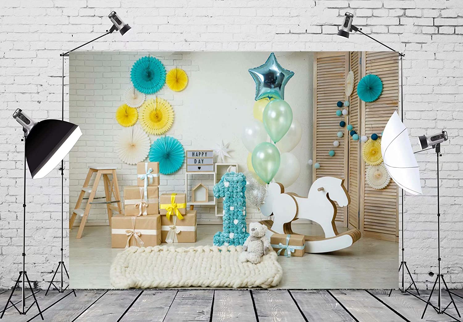 BELECO 7x5ft Cake Smash First Year Backdrop First Birthday Decor Baby Boy 1st Bday Photography Backdrop for Party Decorations Photoshoot Photo Background Props