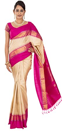 6c334c340d Image Unavailable. Image not available for. Colour: Rajarams Temple Border  Pure Silk Saree with Unstitched Blouse - Cream And Pink