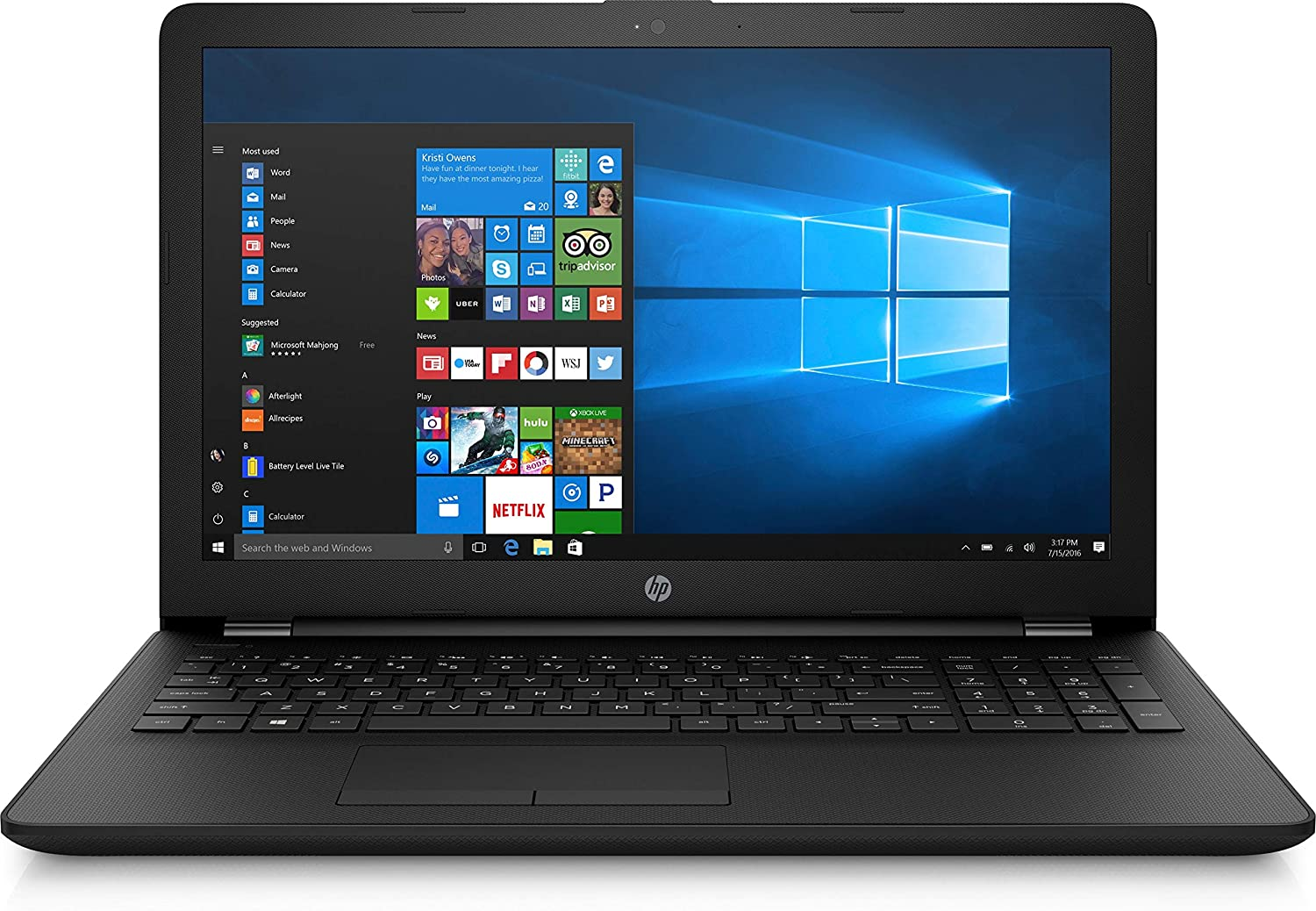"HP 15.6"" Laptop PC Intel N4000 2.6GHz 4GB RAM 500GB HDD DVD Writer Webcam Bluetooth HDMI Windows 10"
