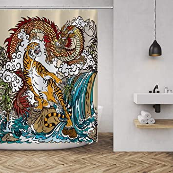 "72/"" Polyester Waterproof Fabric Ancient Frost Dragon Shower Curtain Set Hooks"