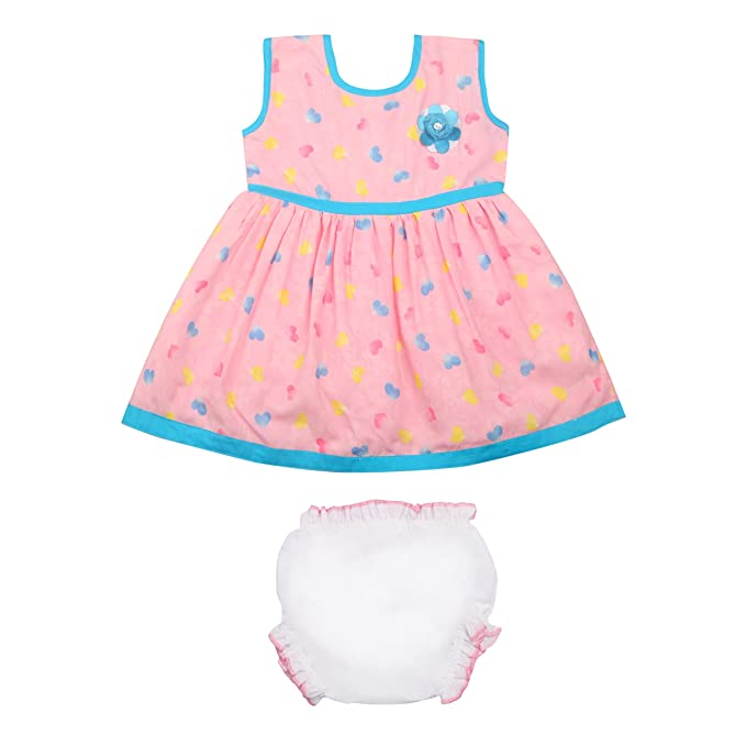 6ec5b1fa7 Littly Baby Girl s Casual Wear Heart Print Cotton Frock Dress with ...