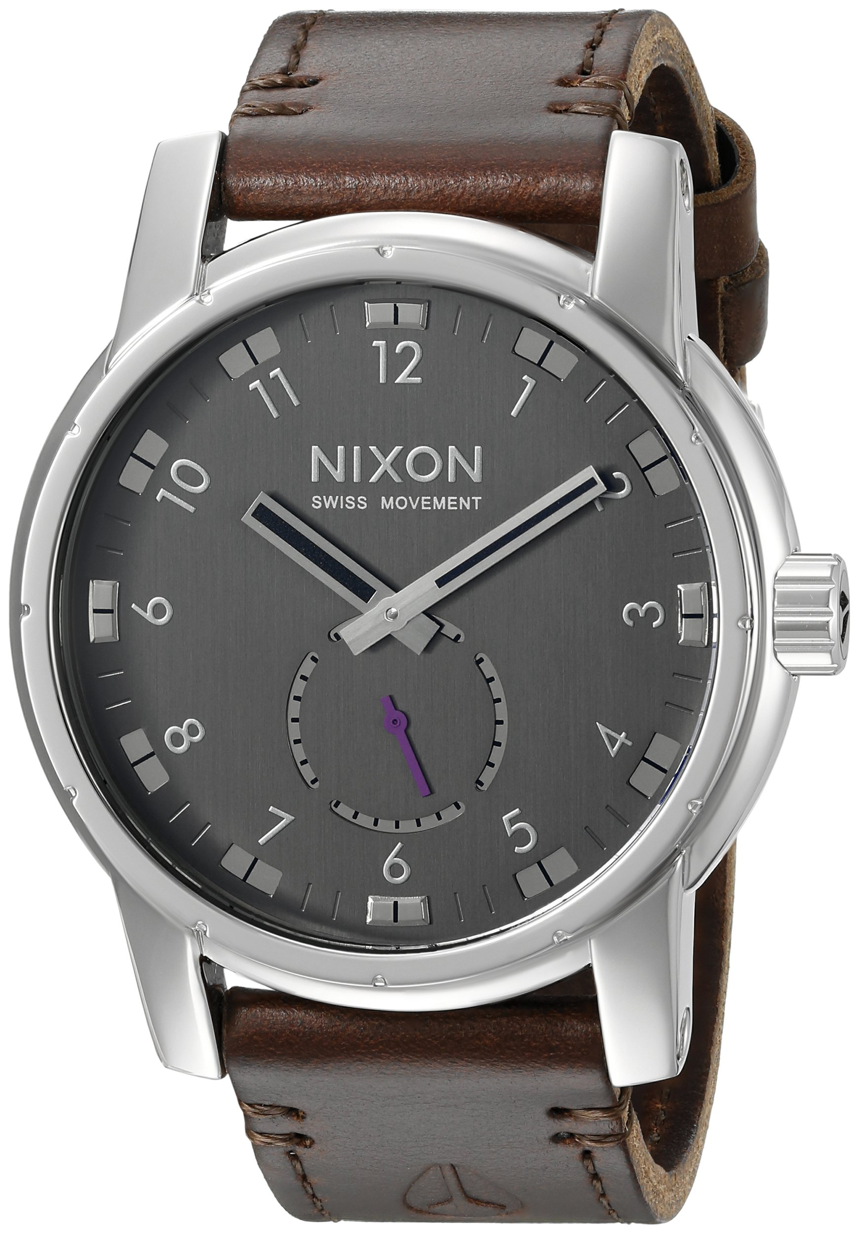 Nixon Men's A938000 Patriot Stainless Steel Watch with Brown Band
