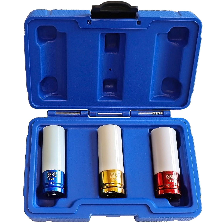 Coffret Embouts de Serrage pour Jantes Roue Voiture 3 pz Blanc S/&R Set de 3 Douilles Impact pour Cl/é /à Choc 1//2 17-19-21 mm